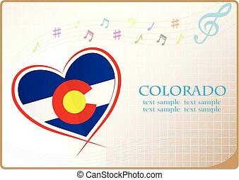 coeur, drapeau, fait, colorado, logo