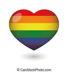 coeur, drapeau, fierté, gay