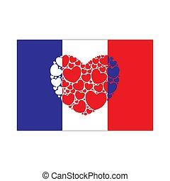 coeur, drapeau, france