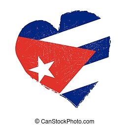 coeur, drapeau, grunge, forme., cuba