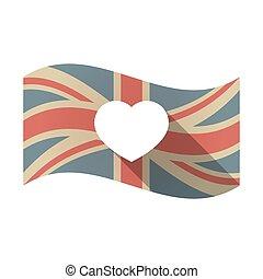 coeur, drapeau, isolé, royaume-uni