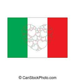 coeur, drapeau, italie