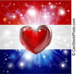 coeur, drapeau, pays-bas, amour, backgro