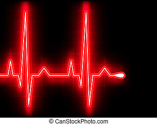 coeur, ekg, graph., eps, beat., 8, rouges