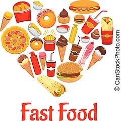 coeur, emblème, icônes, nourriture, jeûne, forme