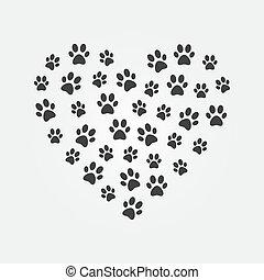 coeur, encombrements, illustration, chat, sombre, forme, vecteur