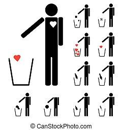 coeur, ensemble, amour, alcool, icônes, drogues, onze, lancement, autre, figures, déchets ménagers