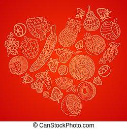 coeur, ensemble, art, forme, fruits, baies