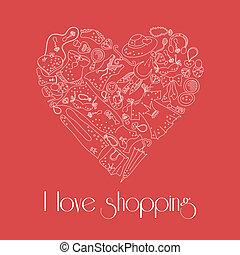 coeur, ensemble, articles, main, mode, dessiné, élégant