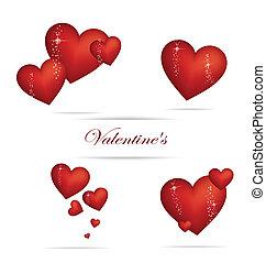 coeur, ensemble, couleur, valentin, signe, rouges