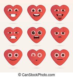 coeur, ensemble, emoticons., mignon