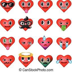 coeur, ensemble, emoticons, visages souriants, emoji