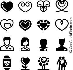 coeur, ensemble, icône