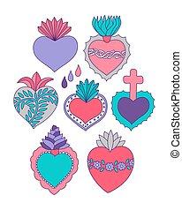 coeur, ensemble, icônes, griffonnage, vecteur, sacré