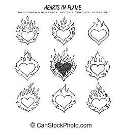 coeur, ensemble, mis feu