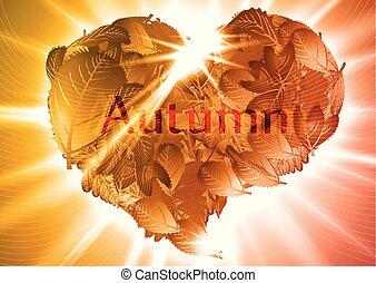 coeur, eps10, illustration, automne, vecteur, feuille
