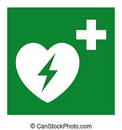 coeur, eps.10, symbole, défibrillateur, illustration, isoler, vecteur, automatisé, externe, fond, blanc