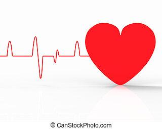 coeur, espace, battement, pouls, indique, vide