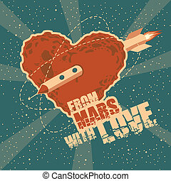 coeur, espace, vendange, salutation, forme, mars, carte