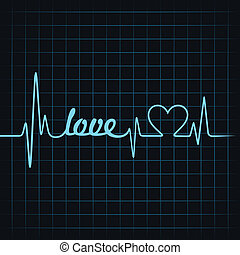 coeur, faire, pulsation, amour, texte