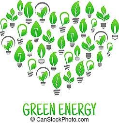 coeur, fait, économie, ampoules, lumière, énergie, icône