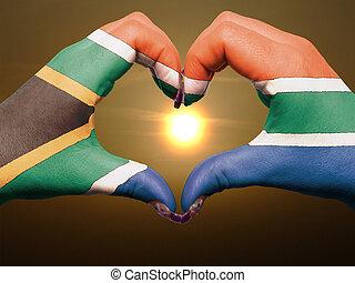coeur, fait, amour, coloré, projection, afrique, drapeau, ...