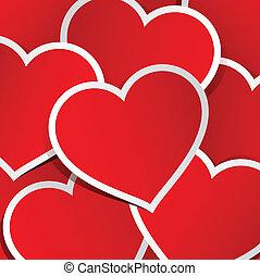 coeur, fait, autocollants, fond