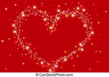 coeur, fait, de, étoiles, sur, arrière-plan rouge, -, saint,...