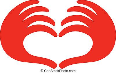 coeur, fait, deux mains