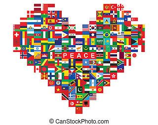 coeur, fait, drapeaux, icônes