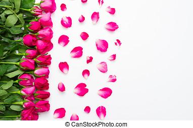 coeur, fait, fond,  valentines, isolé,  roses, blanc, jour, rouges