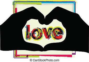 coeur, fait, formulaire, mains