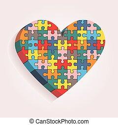 coeur, fait, résumé, pieces., vecteur, puzzle