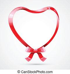 coeur, fait, ruban