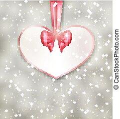coeur, fait, salutation, valentin, forme, papier, jour, carte