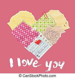 coeur, fait, scrapbooking, grung, vendange, morceaux, papier, vieux