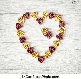 coeur, fait, valentine, nourriture, jour, thème, mignon, pâtes