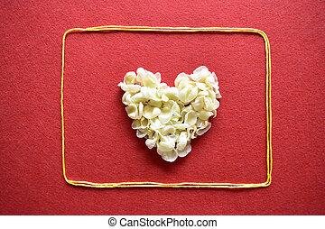 coeur, fait,  valentines,  -, carte, fond, jour, Ruban, rouges