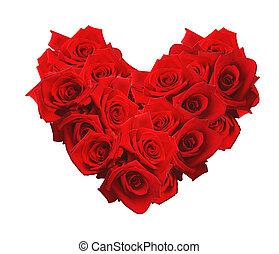 coeur, fait,  valentines, isolé,  roses, fond, blanc, jour, rouges