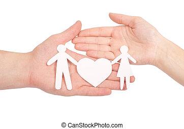 coeur, famille, grand, isolé, main, papier, blanc
