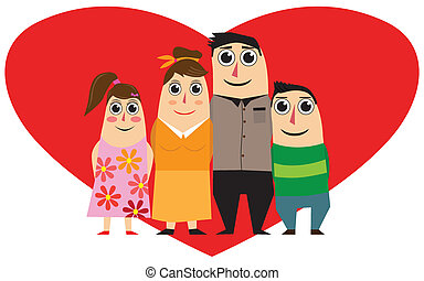 coeur, famille, rouges
