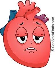 coeur, fatigue, malade, mascotte