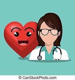 coeur, femalewith, docteur, caractère, sthetoscope, conception, dessin animé