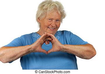 coeur, femme aînée, confection