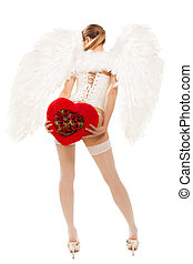 coeur, femme, blonds, ange, jeune, déguisement, tenue