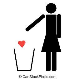 coeur, femme, déchets ménagers, rouges, jets