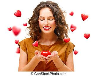 coeur, femme, elle, beauté, jeune, valentin, mains