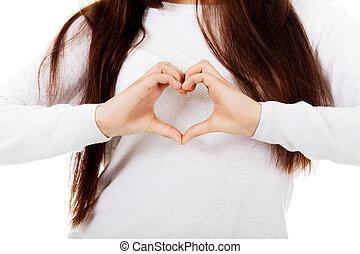 coeur, femme, elle, symbole, jeune, mains, confection