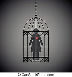 coeur, femme, fond foncé, cage, rouges