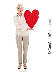 coeur, femme, mûrir, tenue, rouges